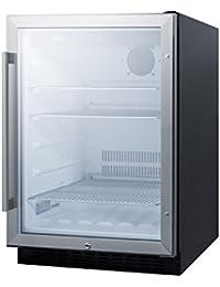 Summit SCR2464 24 Built-In Undercounter Glass Door Beverage Center with Lock, Glass/Black