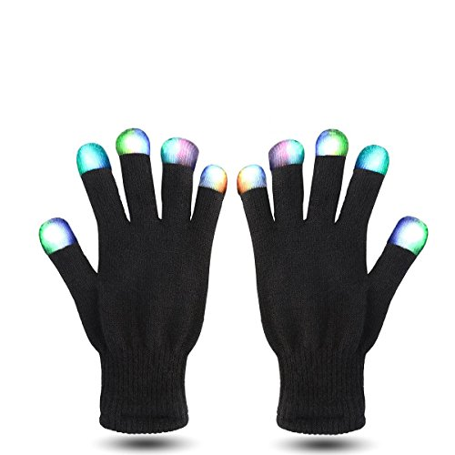 Rave Doctor | LED Gloves Set | 7 Colors Light Show | 6 Modes | Perfect For Concerts, Raves, Clubs, Birthdays, EDM Events, Disco Events, Partying, Music & More