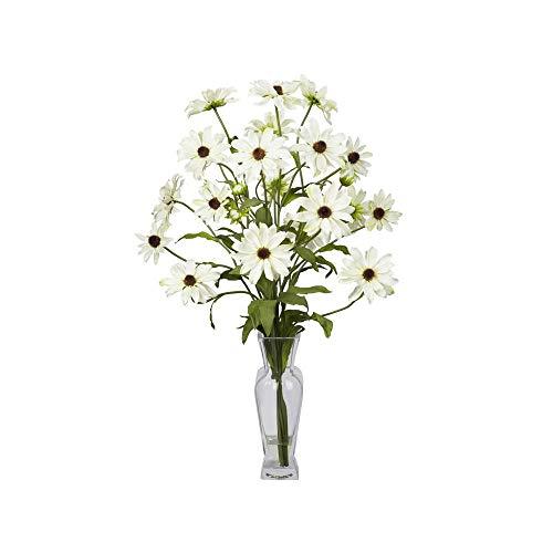 Nearly Natural Cosmos W/Vase Silk Flower Arrangement In White ()
