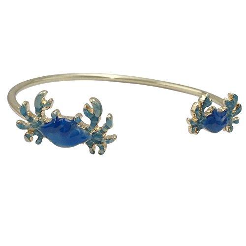 Gypsy Jewels Simple Theme Cuff Bracelet (Blue Crab Gold Tone)