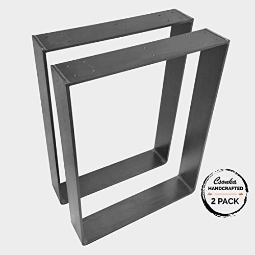 "2 Pack - (3"" Wide - 1/4"" Thick Metal) (Size Range: 4-25""L x 4-25""H) Square Metal Legs, Table Legs, Bench Legs, Legs, Industrial Modern, DIY"