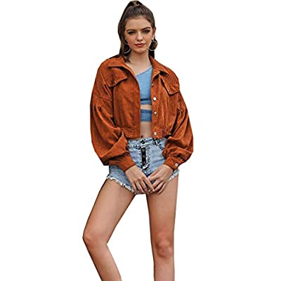 Firehood Women's Cropped Corduroy Jacket Lattern Drop Shoulder Button Down Short Corduroy Coat: Clothing
