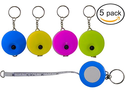 Lontenrea 5 Pack 60-Inch/150cm Soft and Retractable Tape Measure With Keychain for Tailor Sewing Body Measure Tape