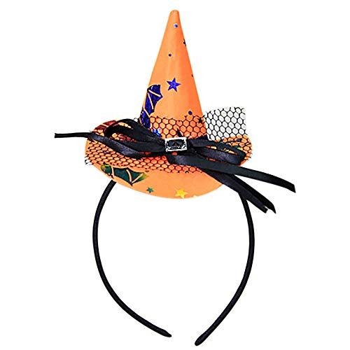 Children Halloween Headwear Mini Pointy Witch Hat Cute Hair Hoop Hairband Accessories Cosplay Party Props Decoration - Ghost and Pumpkin Orange Witch Hat Halloween Headband Accessory (A)
