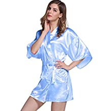 Womens Short Solid Kimono Sexy Silky Satin Bath Robe