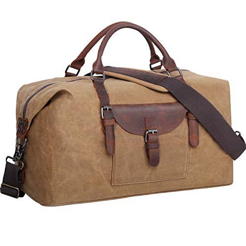 Flipzon Duffle Bag for Men Women Waxed Canvas Duffel Bag Waterproof Large Weekender Bag Overnight Bag Carry On Travel Bag,Sport Gym Bag with Adjustable Shoulder Strap & Pad(Brown)