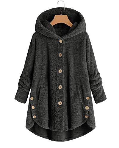VONDA Womens Fleece Coat Blanket Jumper Hoodie Comfy Long Jacket Teddy Bear Outwear