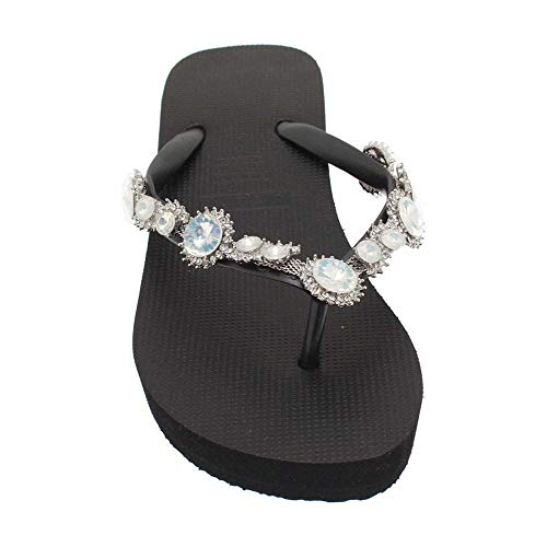 Wedge Top Black Post Uzurii Pearl Diamante Marilyn z6O76