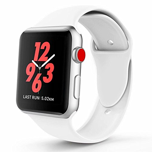 VATI Band Compatible Apple Watch 38mm, Soft Silicone Replacement Wristband Classic Sport Strap Compatible iWatch 2017 Apple Watch Series1/2/3, Edition,Nike+,38MM/42MM All Models(S/M, White)