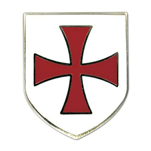 (Knights Templar Crusader Red Cross White Shield Masonic Lapel Pin - 1