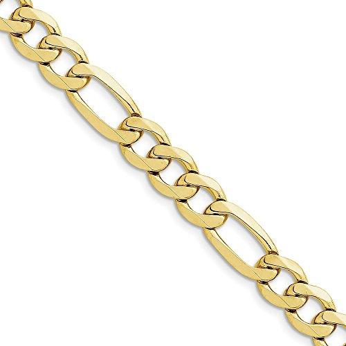 Genuine 10k Yellow Gold 10mm Light Figaro Chain Bracelet Anklet 9 inches by Briliant Bijou