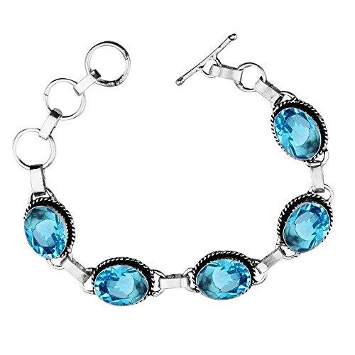 11.50Gms,7.80 Ctw Genuine Blue Topaz Quartz 925 Sterling Silver Overlay Handmade Fashion Bracelet Jewelry - Genuine Blue Topaz Link Bracelet