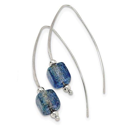 - .925 Sterling Silver Blue Dichroic Glass Threader Earrings