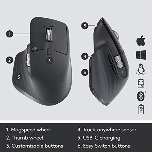 Logitech MX Master 3 Advanced Wireless Mouse - Gra...