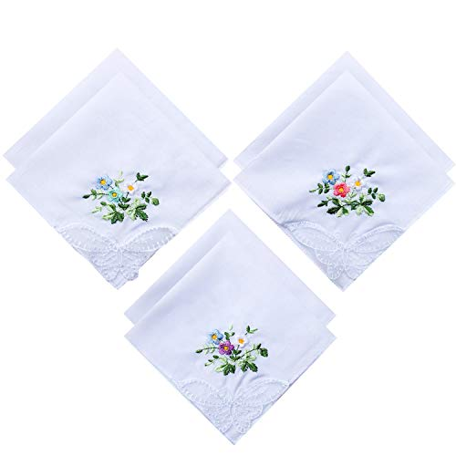 6 Pack of Ladies Embroidery Cotton Handkerchiefs Lace Border White Hankies -
