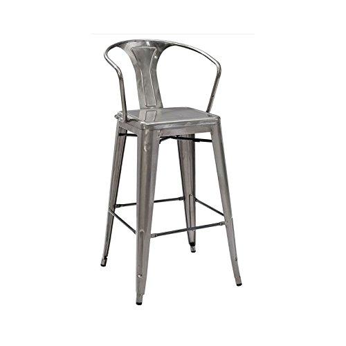 Crosley Furniture Amelia Metal Cafe Barstool (with Back) - Galvanized (Set of 2)
