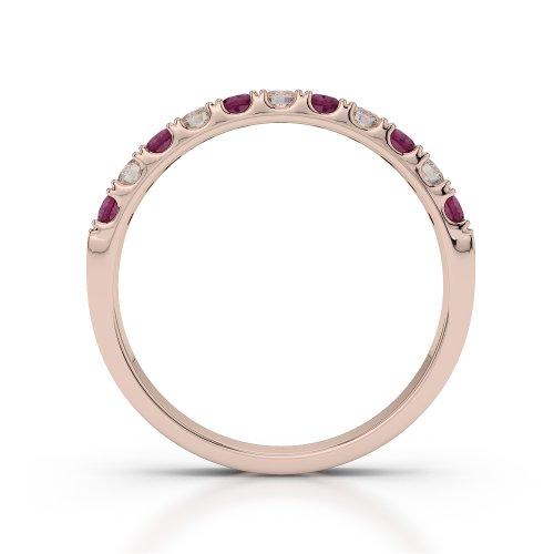 Or Rose 18carats 0,33CT G-H/VS Certifié Coupe ronde Rubis et diamants Agdr-1123