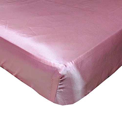 Rose Pink Cloud Satin Fitted Crib Sheet - Fits Standard Crib Mattresses and Daybeds - Crib Toddler Daybed