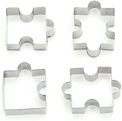 Affe 4Pcs/set Stainless Steel Cookie Puzzle Shape Cookie Cutter Set DIY Biscuit Mold