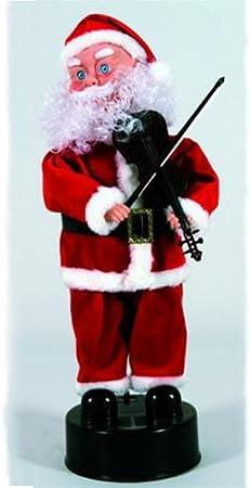 Babbo Natale 40 Cm.Babbo Natale Con Violino Musica E Movimento Batterie 40 Cm Arredo Addobbi Natale Natalizi 071957 Amazon It Casa E Cucina