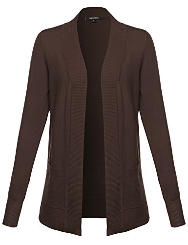 Awesome21 Solid Soft Stretch Open Front Knit Cardigan Brown Size 1XL