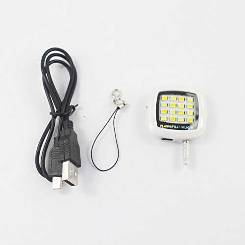 KaLaiXing® Mini Spotlight 16 LED Smartphone LED Flash Fill Light for iPhone iPad and Android Devices Mini USB Charging Port-White