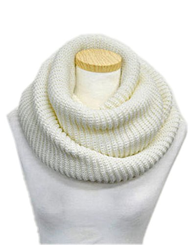 Spikerking Unisex Soft Thick Knitted Winter Warm Infinity Scarf,White (Scarf Wool White)