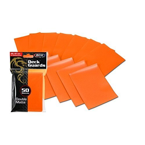 100 Premium Orange Double Matte Deck Guard Sleeve Protectors for Gaming Cards Like Magic The Gathering MTG, Pokemon, YU-GI-OH!, More. by BCW