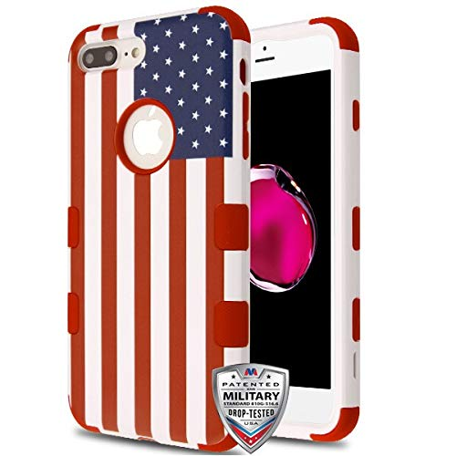 Case+Tempered_Glass+Stylus, TUFF Hybrid Protector/Cover/Faceplate [Military-Grade Certified] Fits Apple iPhone 7 Plus/8 Plus United States National Flag/Red