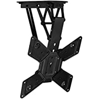 Mount-It! Motorized Ceiling TV Mount With Remote, Electric Flip Down Pitched Roof Mount Fits 32, 37, 40, 47, 50 and 55 Inch Flat Screen TVs and Monitors