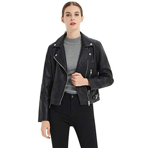CGTL Short Coat Jacket for Petite, Girls Metallic Zipper Motorcycle Belt Fashion Cool Cool Punk Slim Fit Long Sleeve Hiking Exercise PU Leather Jacket for Women's Gift, Black, - Metallic Motorcycle Jacket Leather