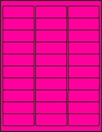 BESTeck 100 Sheets / 3000 Fluorescent FBA and Word Compatible Size Address Labels 30UP 2.625x1 30 Labels Per Sheet. Ink Jet and Laser Guaranteed. Made in USA (Fluorescent Pink)