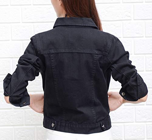 Denim en Jeans Veste Fit Veste Femme Manches Bevalsa Manteau Casual Jean Longues Noir en Slim 7gqxFZ0