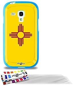 """Carcasa Flexible Ultra-Slim SAMSUNG GALAXY S3 MINI ( I8190 ) de exclusivo motivo [Nuevo Mexico Bandera] [Azul] de MUZZANO  + 3 Pelliculas de Pantalla """"UltraClear"""" + ESTILETE y PAÑO MUZZANO REGALADOS - La Protección Antigolpes ULTIMA, ELEGANTE Y DURADERA para su SAMSUNG GALAXY S3 MINI ( I8190 )"""