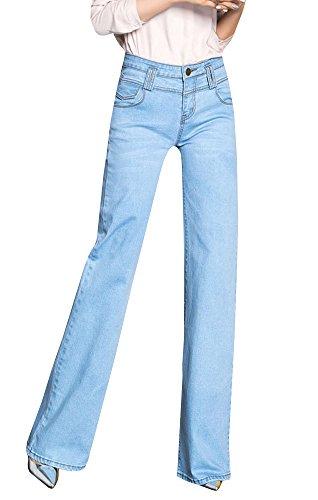 Ermonn Womens Office Lady Wear To Work Straight Boot Cut Jeans Denim Pants