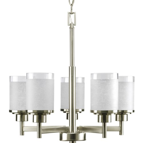 Progress Lighting P4459-09 5-Light Alexa Chandelier, Brushed Nickel (Light Bath Heights)