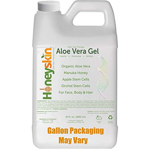 Natural Aloe Vera Leaf Gel - 100% Pure Aloe Leaf Gel for Face and Body After Sun Care - From Fresh Aloe Plants in USA - Hydrating Gel for Sunburn, Acne - No Clumping or Pulp - Non Sticky (64 oz)