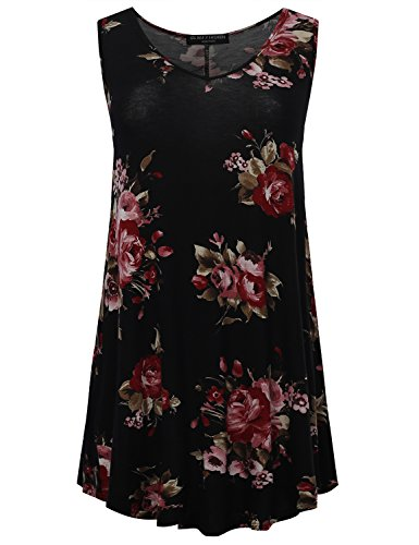 All for You Womens Sleeveless V Neck Floral Print Tunic Top Black 7541 X Large