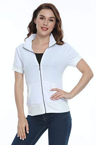 Wudodo Womens Zip up Jackets Shirts Short Sleeves Stand Collar Sweatshirts Running Jackets with Pockets