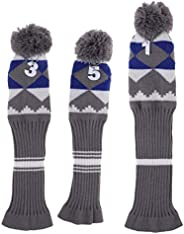 lahomia 3Pcs Golf Pom Head Cover Club Knitted Headcovers Socks for Driver/Fairway Wood
