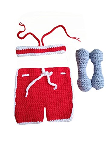 Baby Weightlifter Costume (Pinbo® Baby Boys Photography Prop Crochet Sportsman Weightlifter Dumbbell)
