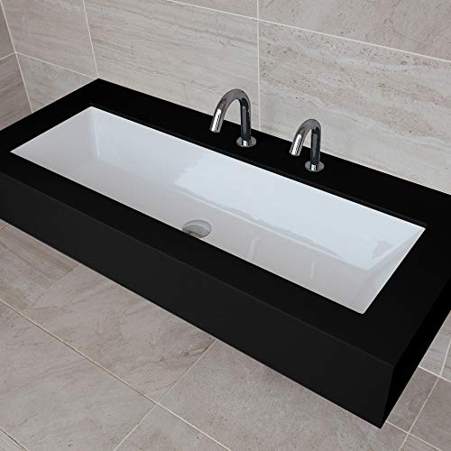 (Under-counter or self-rimming porcelain Bathroom Sink with an overflow. W: 35 1/2