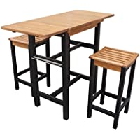 Merry Products Drop Leaf Eucalyptus Wood Dining Table and Barstool Set
