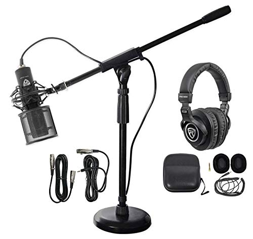 Rockville PC Gaming Streaming Twitch Bundle: RCM PRO Microphone+Headphones+Stand (Boom One Arm Piece)