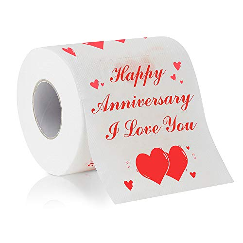 Cleaky Happy Anniversary Printed Toilet Paper Gag Gift, Funny Novelty Anniversary Present for Him or Her (Happy Anniversary Toilet Paper)