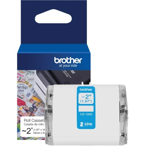 "Brother Genuine CZ-1005 Continuous Length ~ 2 (1.97"") 50 mm Wide x 16.4 ft. (5 m) Long Label roll Featuring Zink Zero Ink Technology ()"