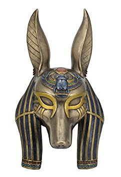 Anubis Mask Egyptian Wall Plaque Sculpture by Unknown