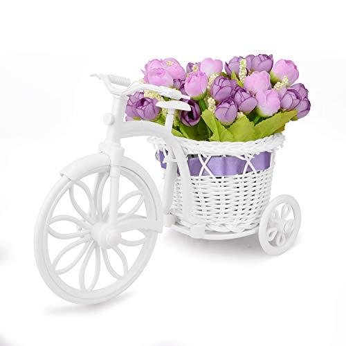 Takefuns Garden - Soporte para plantas, diseno de bicicleta decorativa (ideal para decoracion de hogar o de jardin), plastico, Morado, Small