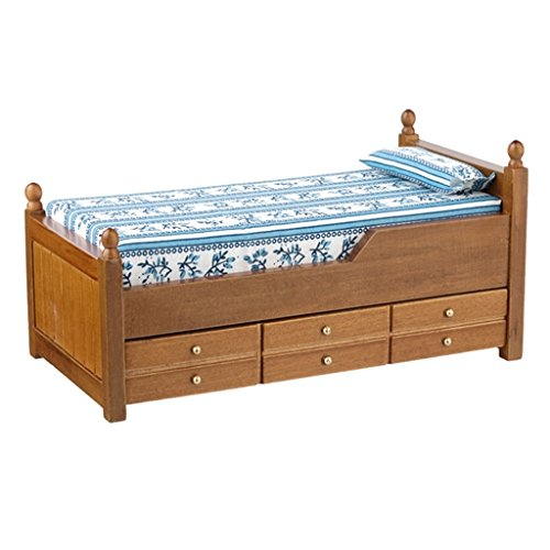 Dollhouse Miniature Working Trundle Bed