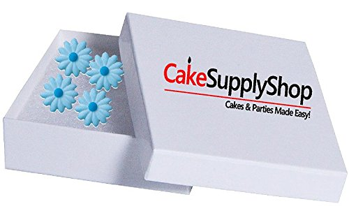 12pk Elegant Daisy Ready To Use Edible Cake / Cupcake Sugar Decoration Toppers (Light (Blue Daisies Cup)